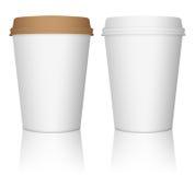 Pappers- uppsättning för kaffekopp Royaltyfri Foto