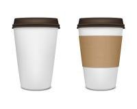 Pappers- uppsättning för kaffekopp Royaltyfria Bilder