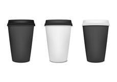Pappers- uppsättning för kaffekopp Royaltyfria Foton