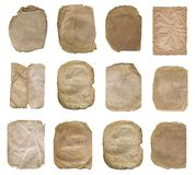 Pappers- uppsättning som isoleras på vit set tappning för gammalt papper Royaltyfria Foton