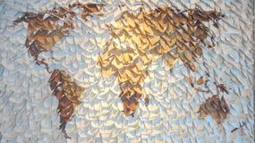 Pappers- världskarta Royaltyfria Bilder