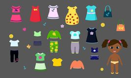 Pappers- vektordocka med kläder för barns lekar vektor illustrationer