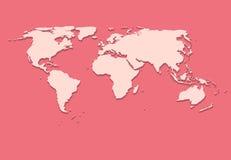 Pappers- världskarta på rosa bakgrundsvektor Royaltyfri Bild