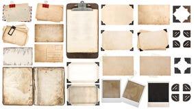 Pappersark, bok, det gamla fotoet inramar hörn, skrivplatta royaltyfri bild