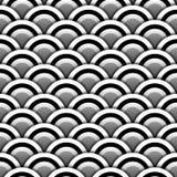Papperscirklar med skugga i den svartvita sömlösa modellen, vektor Arkivbild