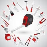 Pappersexercismått - uppsättningen av röda konstruktionshjälpmedel - instrument Fotografering för Bildbyråer