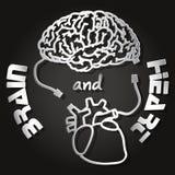 Papperssnitt av hjärnan och hjärta Royaltyfri Illustrationer