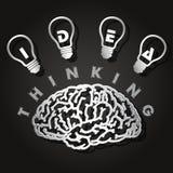 Papperssnitt av hjärnan och ljusa kulor Royaltyfri Fotografi