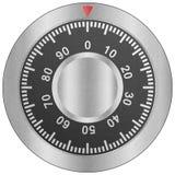 Papperssnittet av det säkra kombinationslåset är metallvisartavlan för säkerhetspr royaltyfri illustrationer