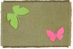 Pappfjäril på den gröna grova torkduken Arkivbild