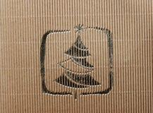 Papphintergrund mit goldenem Weihnachtsbaum Lizenzfreie Stockfotos