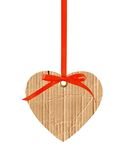 Papphjärta med den röda bandpilbågen som isoleras på vit Royaltyfria Bilder