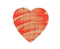 Papphjärta med röd målarfärg som isoleras på vit Royaltyfria Bilder