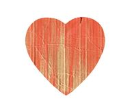 Papphjärta med röd målarfärgfärgstänk som isoleras på vit Royaltyfria Foton