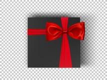 Pappschachtel des schwarzen Quadrats mit rotem Band und Bogen auf transparentem Hintergrund, Draufsicht Modellkasten für Designpr stock abbildung