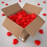 Pappschachtel gefüllt mit Herzen Stock Abbildung