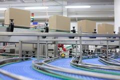 Pappschachteln auf Förderband in der Fabrik lizenzfreie stockfotos