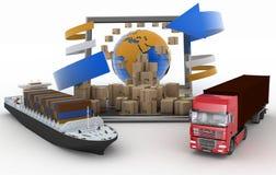 Pappschachteln rund um den Globus auf einem Laptopschirm, einem Frachtschiff und LKW Lizenzfreie Stockfotos