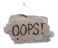 Papptecken med meddelandet OOPS Fotografering för Bildbyråer