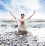 Pappy young men in a beach in summer with slow motion and blurry concept stock photo