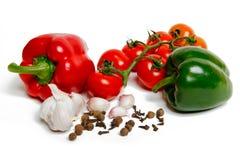 Paprica、大蒜和蕃茄 库存照片