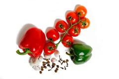 Paprica、大蒜和蕃茄 库存图片