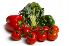 Paprica、硬花甘蓝和蕃茄 免版税库存图片