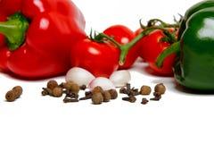 Paprica, aglio e pomodori Immagine Stock