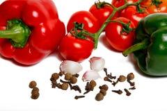 Paprica, aglio e pomodori Fotografia Stock Libera da Diritti