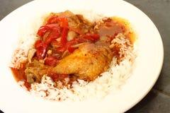 Paprica di pollo con riso B Fotografia Stock Libera da Diritti