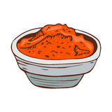 Paprica kryddasmaktillsats som isoleras på vit för för pepparmat och smaktillsats för bakgrund hand dragen aromatisk arom för ani vektor illustrationer