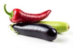 Paprica, melanzana e zucchini dolci rossi Fotografia Stock