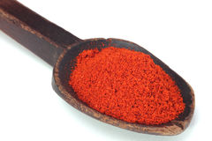 Paprika. Red hot paprika powder on old wooden spoon Royalty Free Stock Photos