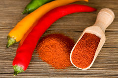 Paprika. Red hot paprika powder on wooden spoon Royalty Free Stock Image