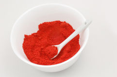 Paprika. Some paprikas powder in the dish Stock Photography