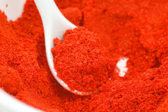 Paprika. Some paprikas powder in the spoon royalty free stock photography