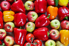 Paprika, apple, citrus, tomato, cucumber, pear lies on a canvas Royalty Free Stock Photos