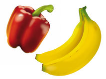 Paprika and Banana Royalty Free Stock Photos