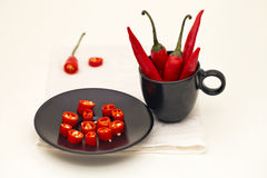 Paprika in a black cup Stock Image