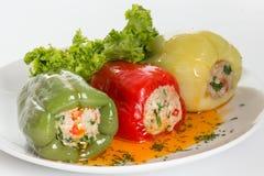 Paprika bourré avec de la viande, le riz et des légumes Photos stock