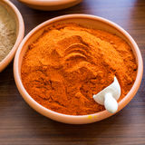 Paprika in bowl. On the table royalty free stock images