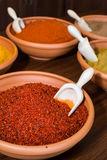 Paprika. In ceramic bowl with scoop in it Stock Photo