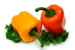 Paprika colorida fresca con perejil Fotografía de archivo