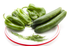 Paprika with cucumbers and dill Stock Images