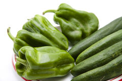 Paprika with cucumbers Royalty Free Stock Photography