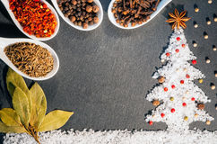 Paprika, cummin, steranijsplant, kruidnagels, pimentbes, laurierblad, zwarte, witte en Spaanse peper en zoute kruiden Achtergrond Stock Foto's
