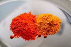 Paprika and Curry Royalty Free Stock Photos