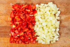 Paprika cut to pieces Stock Images