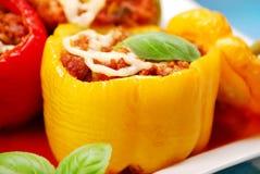 Paprika die met het gehakt wordt gevuld Royalty-vrije Stock Foto
