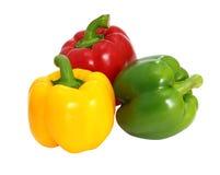 Paprika dulce verde y amarillo rojo Fotos de archivo
